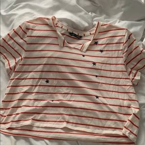 Over sized red and white striped tee